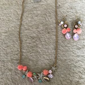 J.CREW SET OF SMALL FLOWER POWER NECKLACE AND EARR